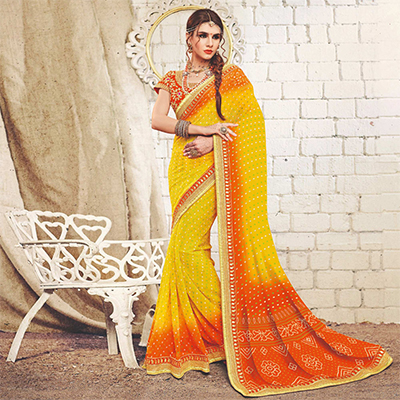 Yellow Colored Traditional Bandhani Printed Georgette Saree