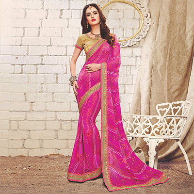 Deep Pink Colored Traditional Bandhani Printed Georgette Saree