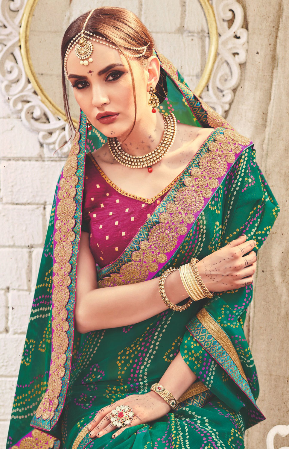 Green Colored Traditional Bandhani Printed Georgette Saree