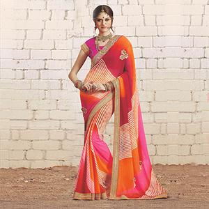 Multi Colored Colored Traditional Bandhani Printed Georgette Saree