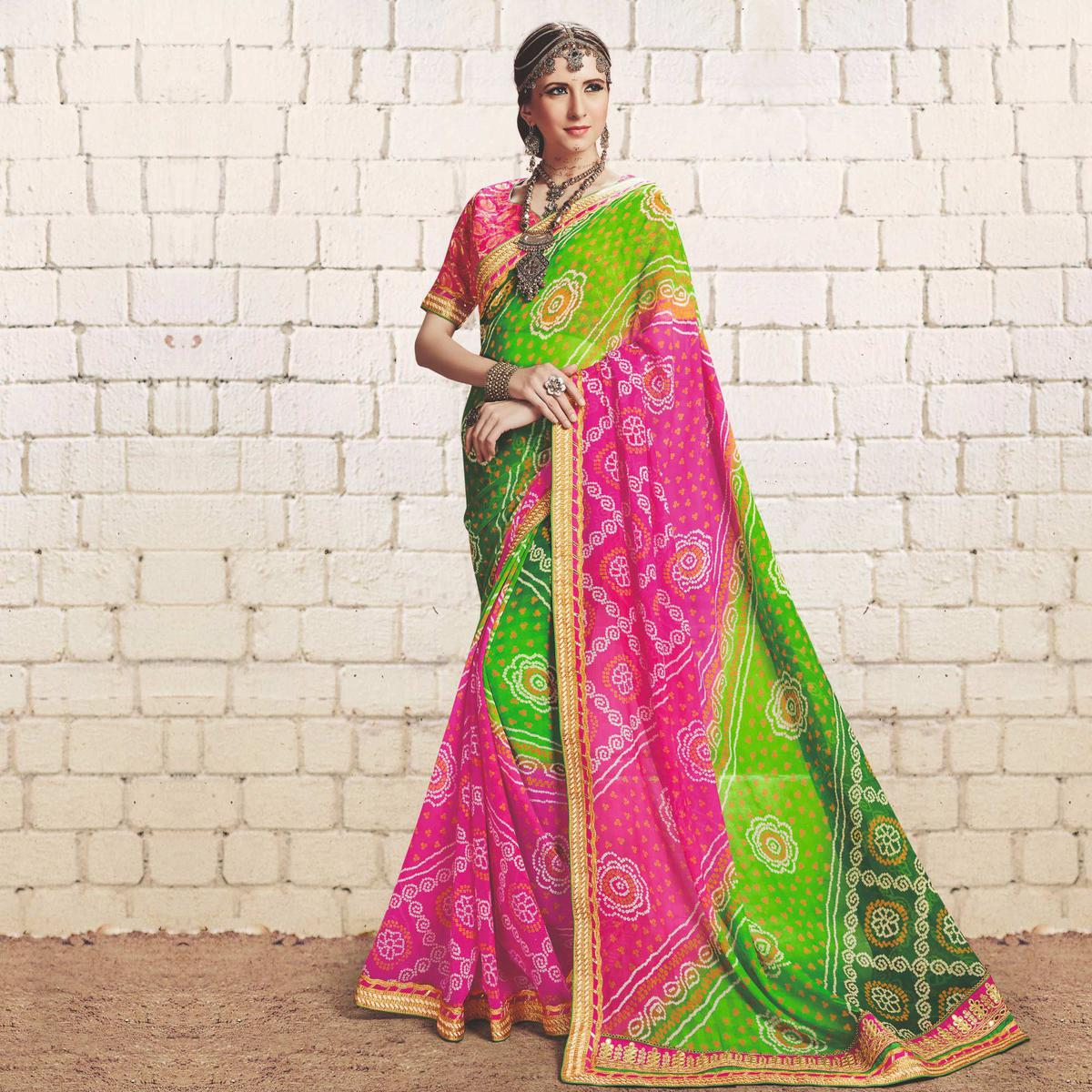 Green - Pink Colored Traditional Bandhani Printed Georgette Saree