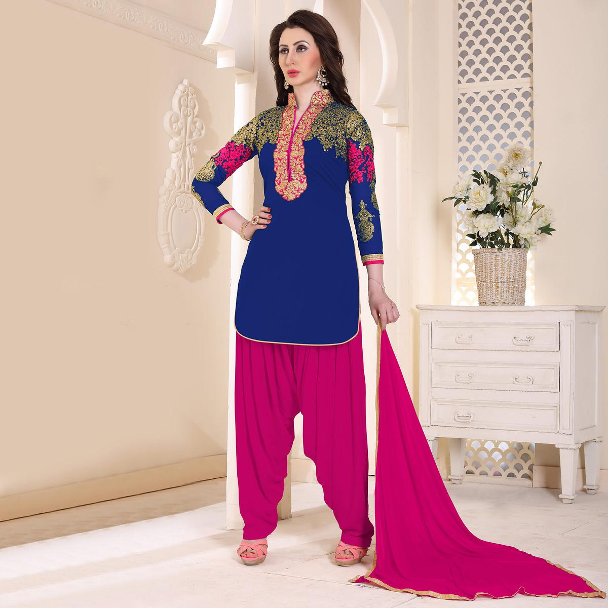 Trendy Blue Partywear Embroidered Georgette Patiala Suit