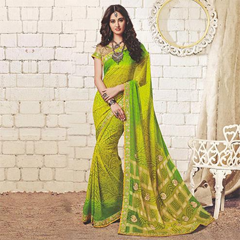Light Green Colored Traditional Bandhani Printed Georgette Saree