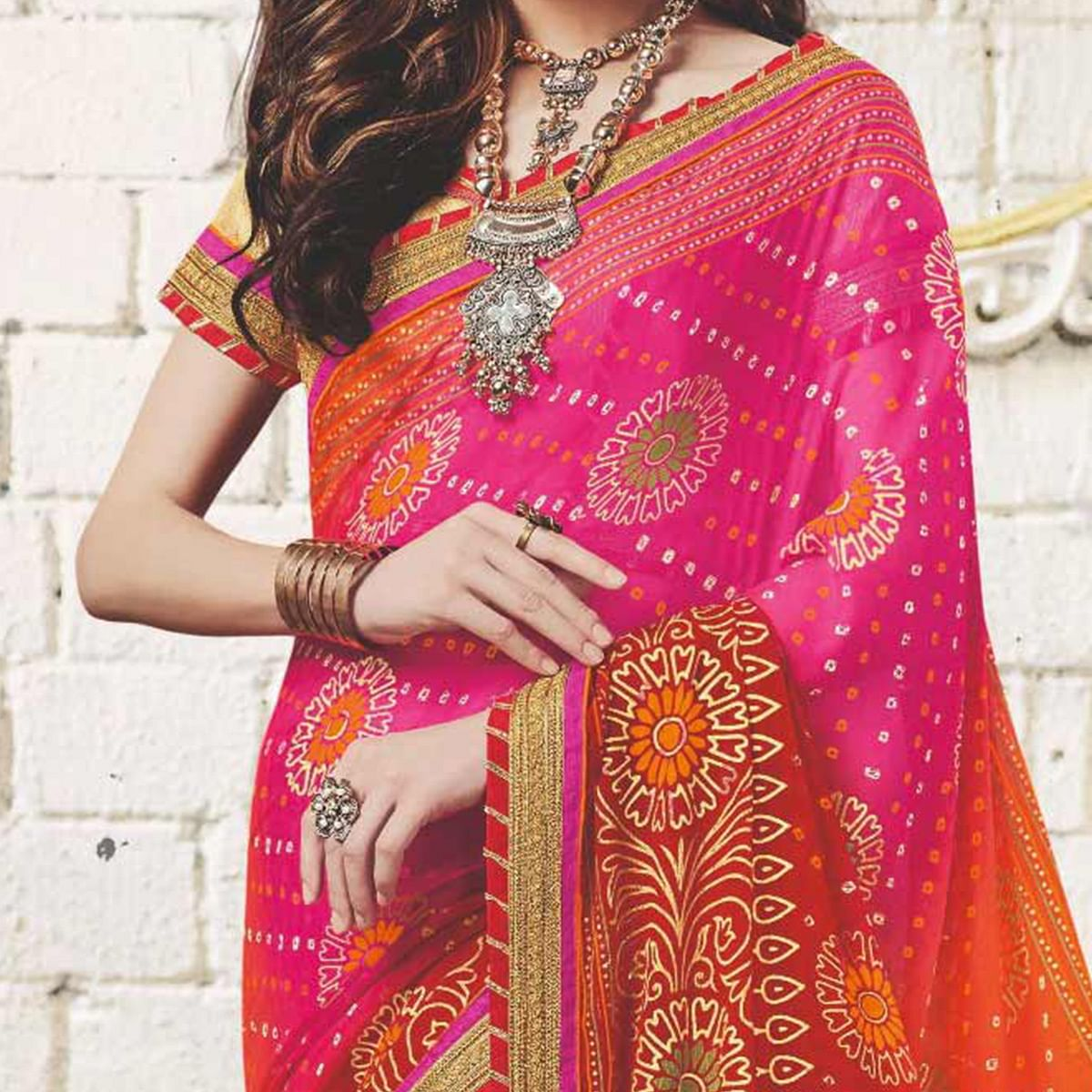 Pink - Orange Colored Traditional Bandhani Printed Georgette Saree