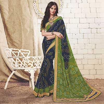 Navy Blue - Green Colored Traditional Bandhani Printed Georgette Saree