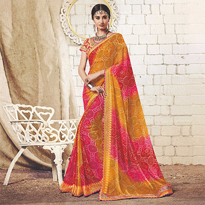 Mustard Yellow - Pink Colored Traditional Bandhani Printed Georgette Saree
