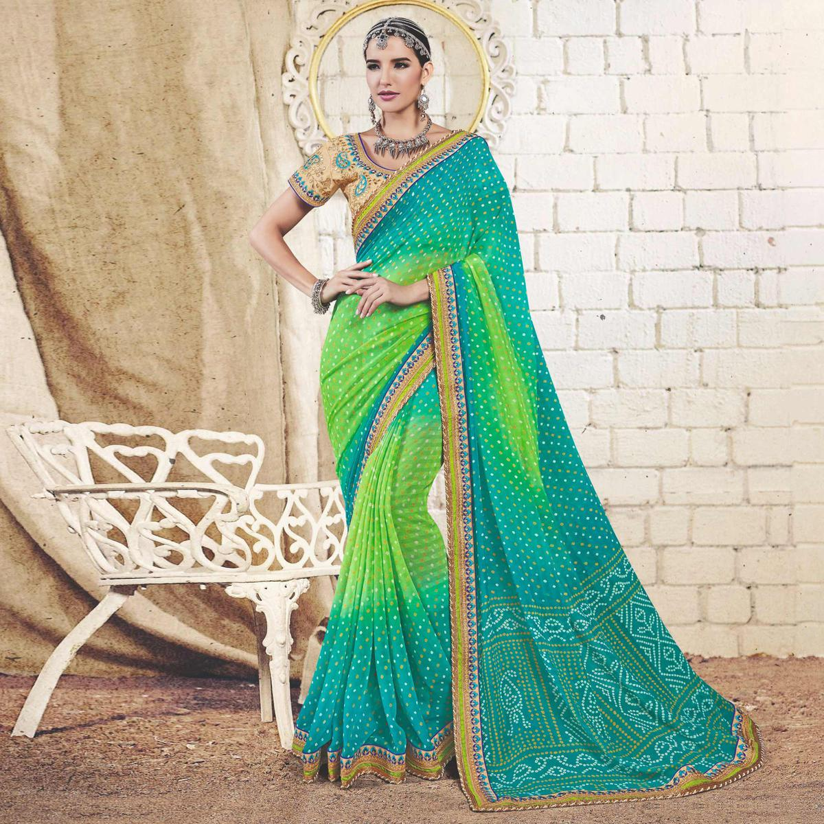 Turquoise - Light Green Colored Traditional Bandhani Printed Georgette Saree