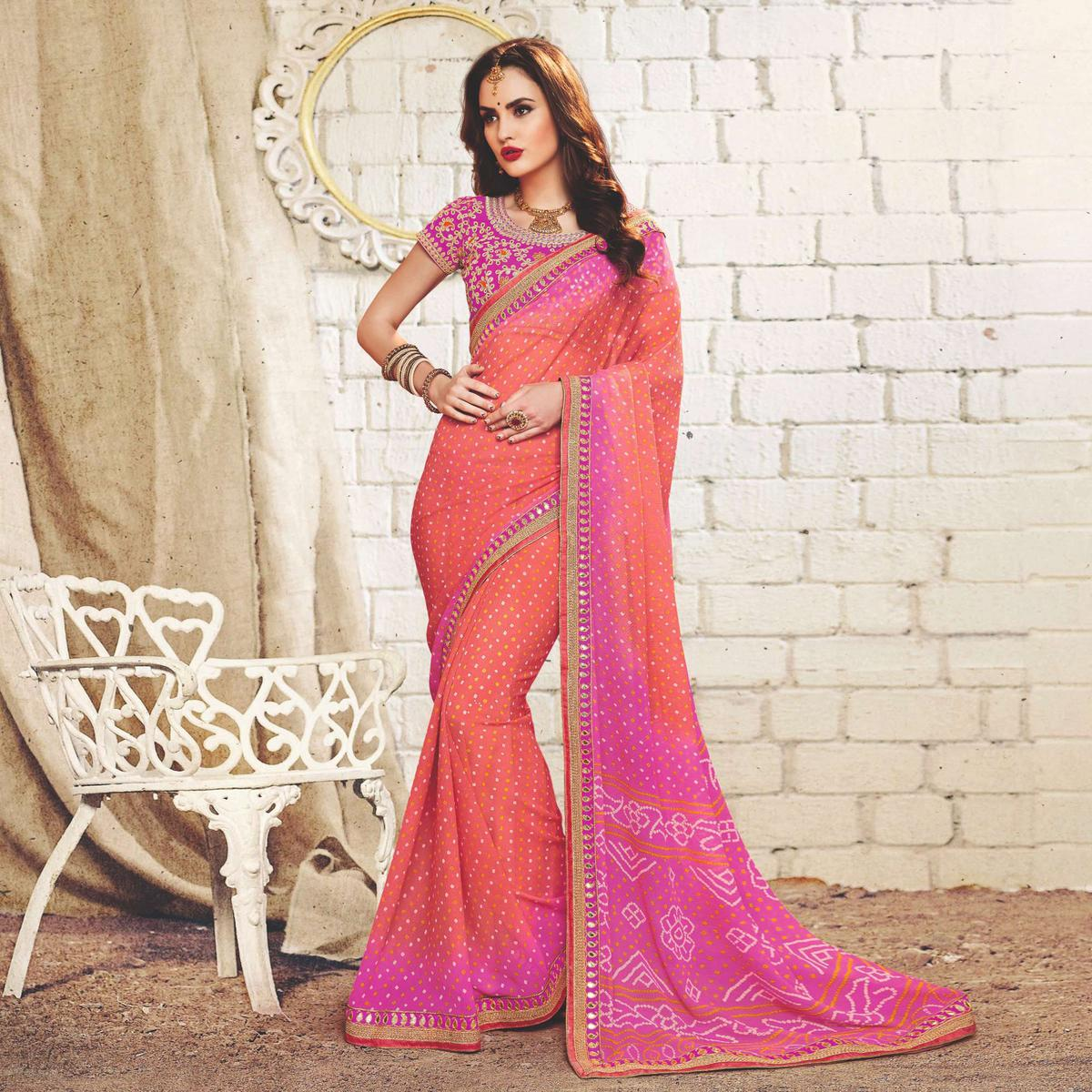 Peach - Pink Colored Traditional Bandhani Printed Georgette Saree