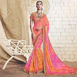 Multicolored Colored Traditional Bandhani Printed Georgette Saree