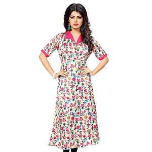 White Multicolored Printed Crepe Kurti