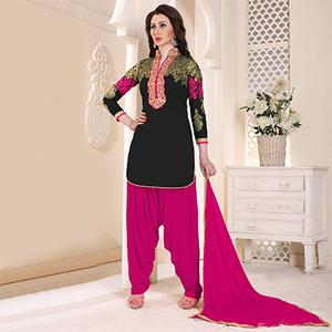 Trendy Black Partywear Embroidered Georgette Patiala Suit
