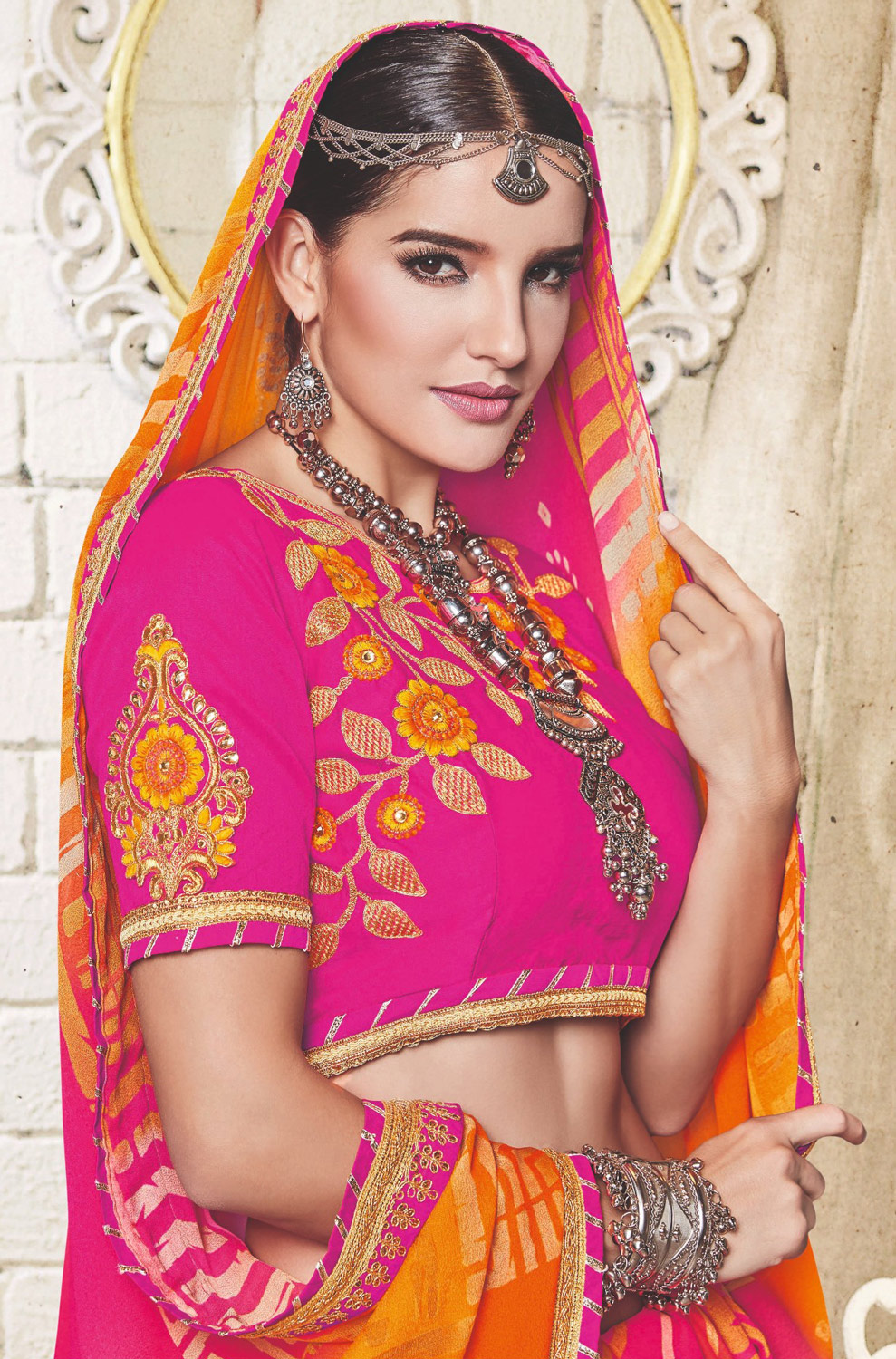 Orange - Pink Traditional Bandhani Printed Georgette Saree