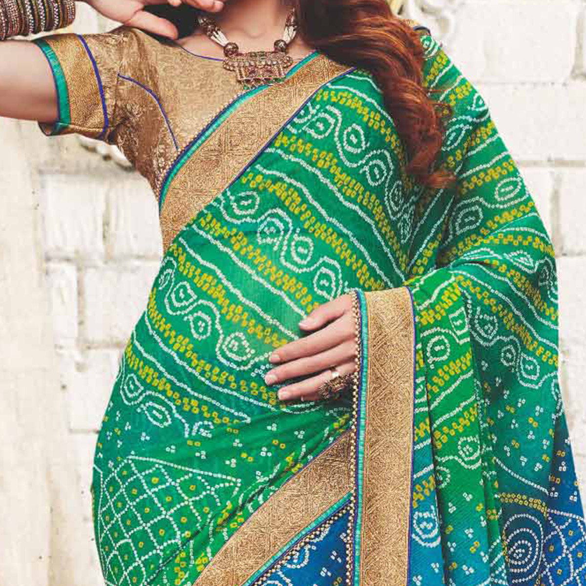 Green - Blue Traditional Bandhani Printed Georgette Saree