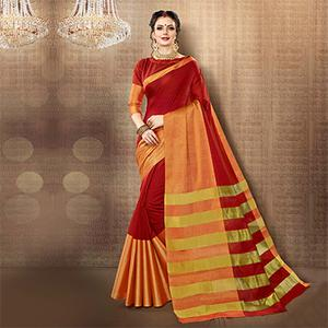 Red Colored Festive Wear Weaving Cotton Silk Saree