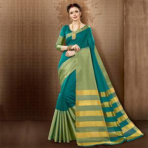 Teal Blue Colored Festive Wear Weaving Cotton Silk Saree