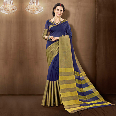 Violet Colored Festive Wear Weaving Cotton Silk Saree
