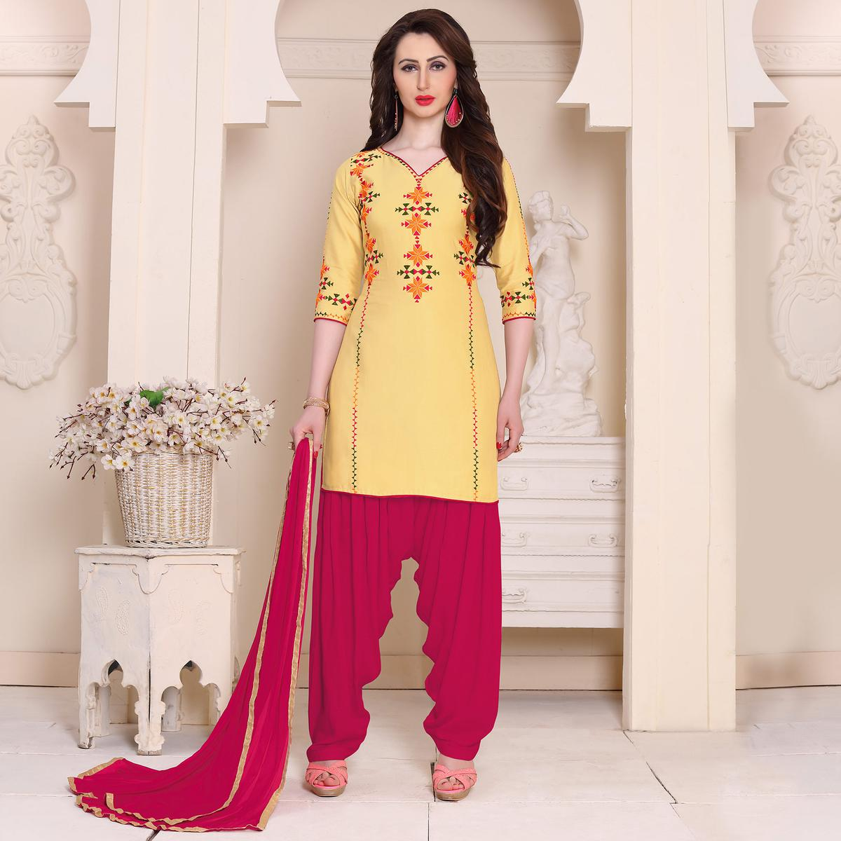 Stylish Yellow Designer Embroidered Georgette Patiala Suit