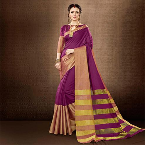 Magenta Pink Colored Festive Wear Weaving Cotton Silk Saree