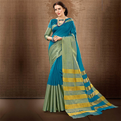 Blue Colored Festive Wear Weaving Cotton Silk Saree