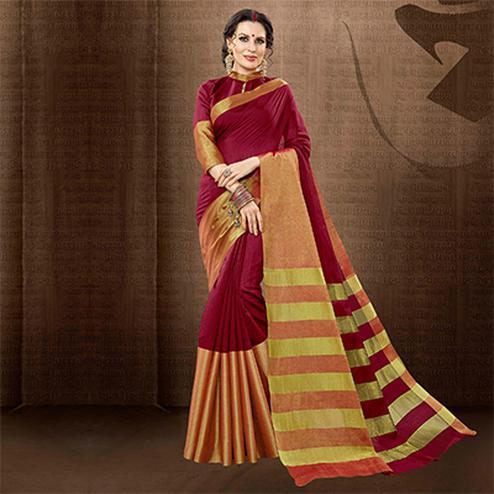 Dark Pink Colored Festive Wear Weaving Cotton Silk Saree