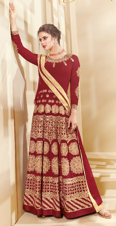 Intricate Maroon Colored Designer Embroidered Party Wear Georgette Anarkali Suit