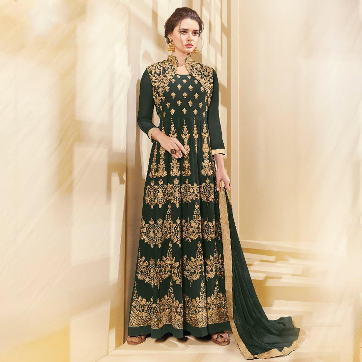 Attractive Green Colored Designer Embroidered Party Wear Georgette Anarkali Suit
