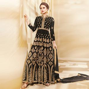 Graceful Black Colored Designer Embroidered Party Wear Georgette Anarkali Suit