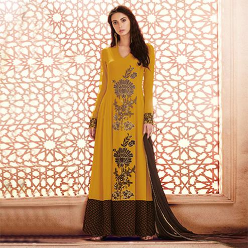 Delightful Mustard Colored Designer Embroidered Georgette Anarkali Suit