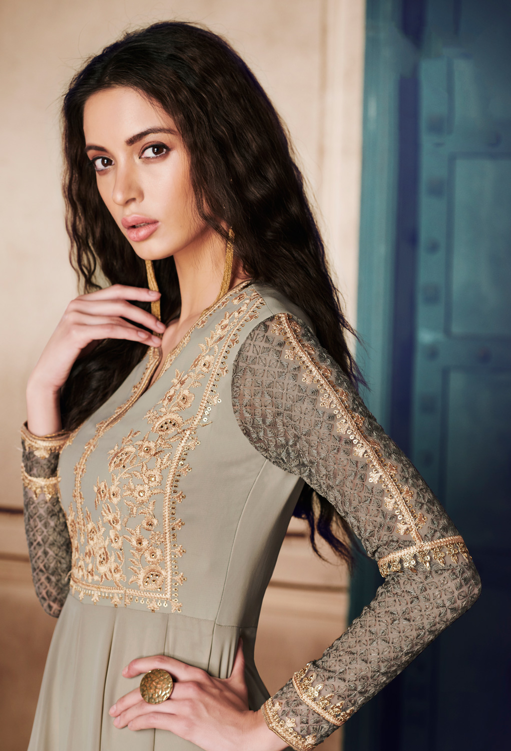 Charming Grey Colored Designer Embroidered Georgette Anarkali Suit