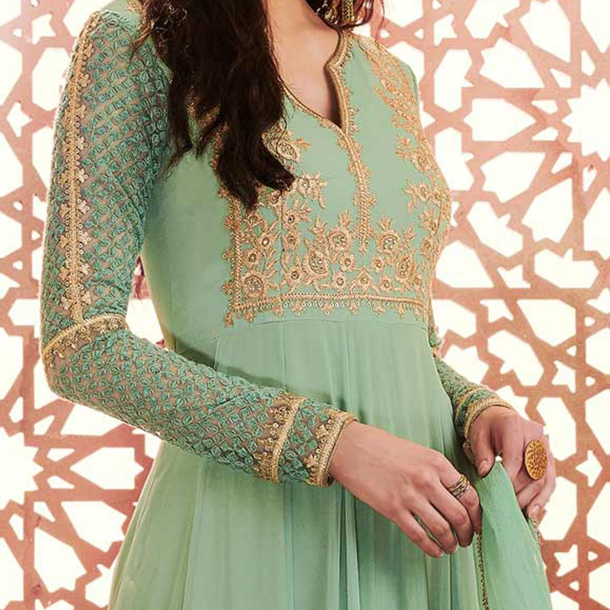 Intricate Green Colored Designer Embroidered Georgette Anarkali Suit
