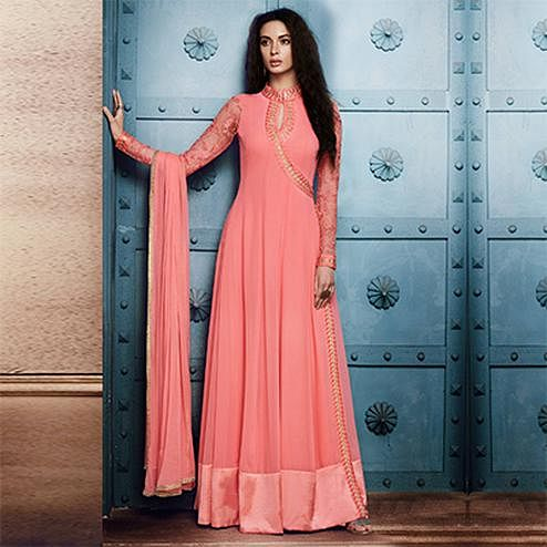 Demanding Pink Colored Designer Embroidered Georgette Anarkali Suit