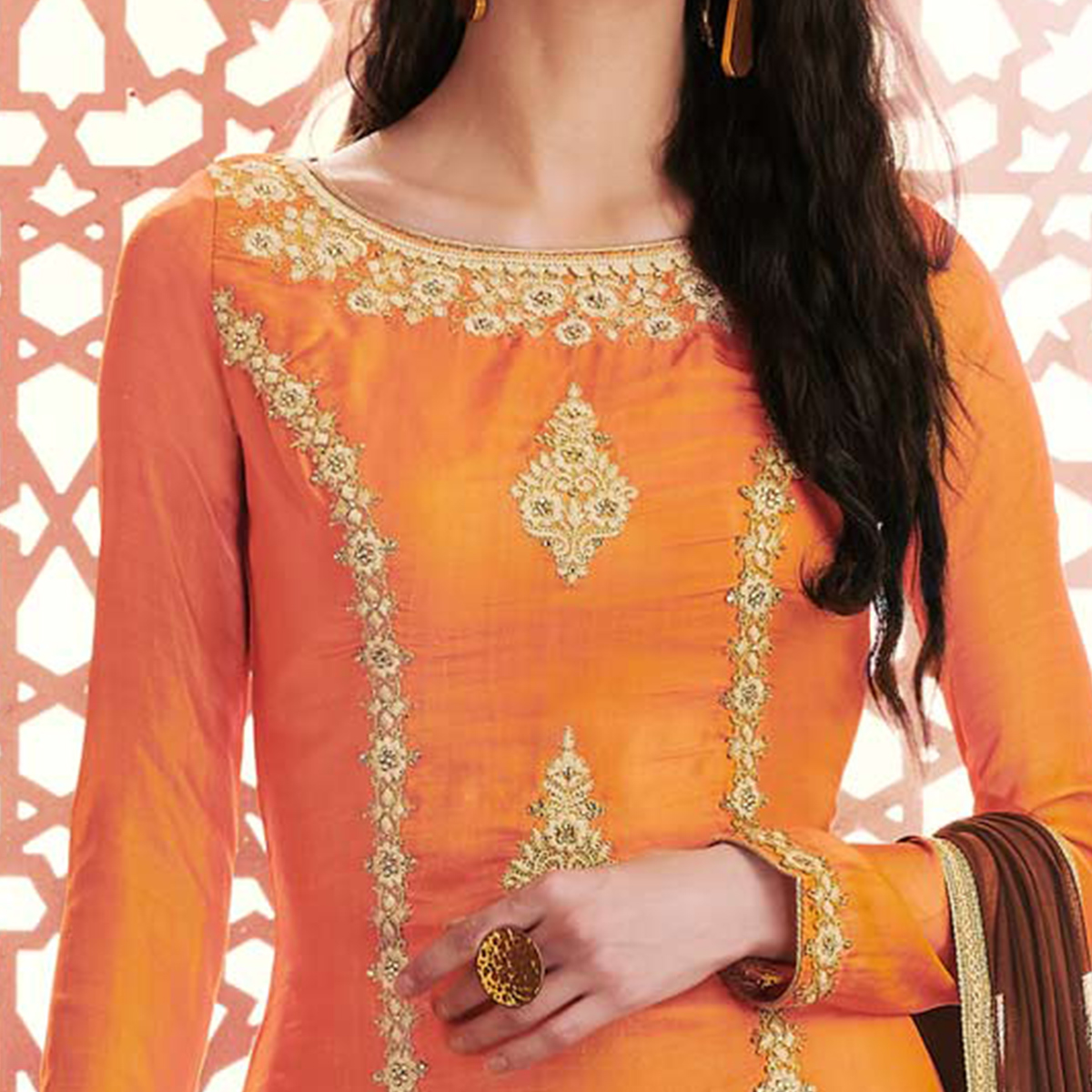 Alluring Orange Colored Designer Embroidered Silk Suit
