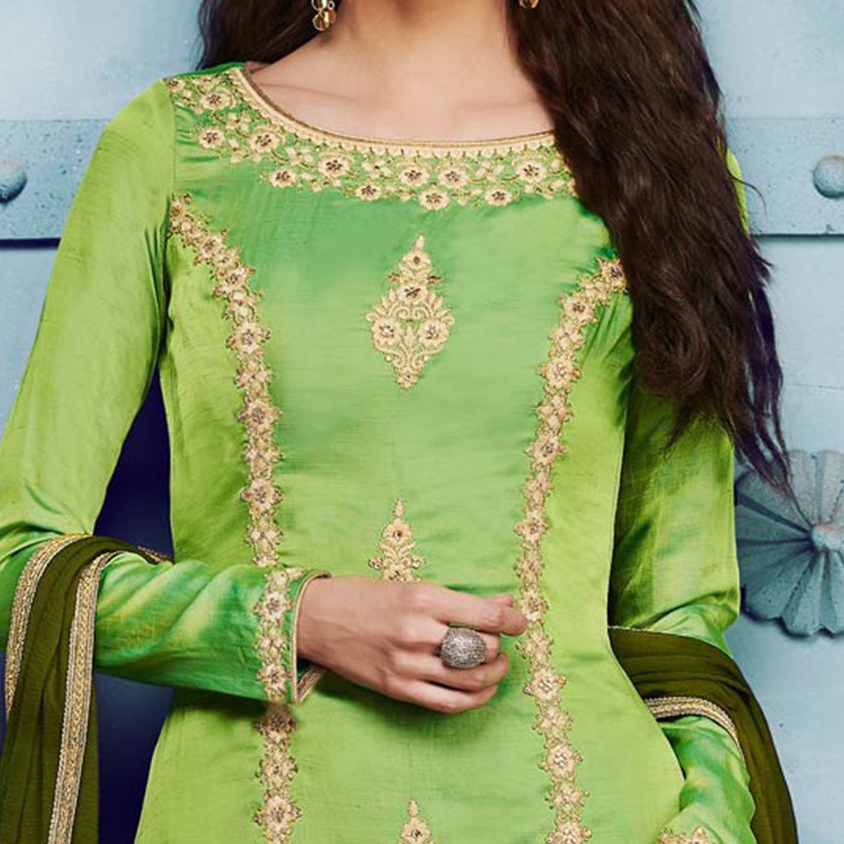 Radiant Green Colored Designer Embroidered Silk Suit