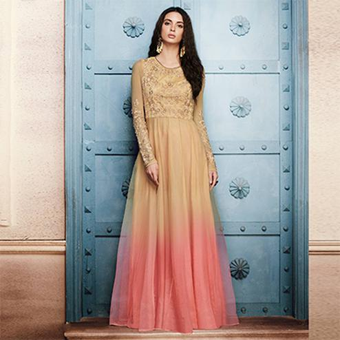 Adorable Beige Colored Designer Embroidered Net Anarkali Suit