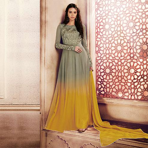 Amazing Olive Green Colored Designer Embroidered Net Anarkali Suit