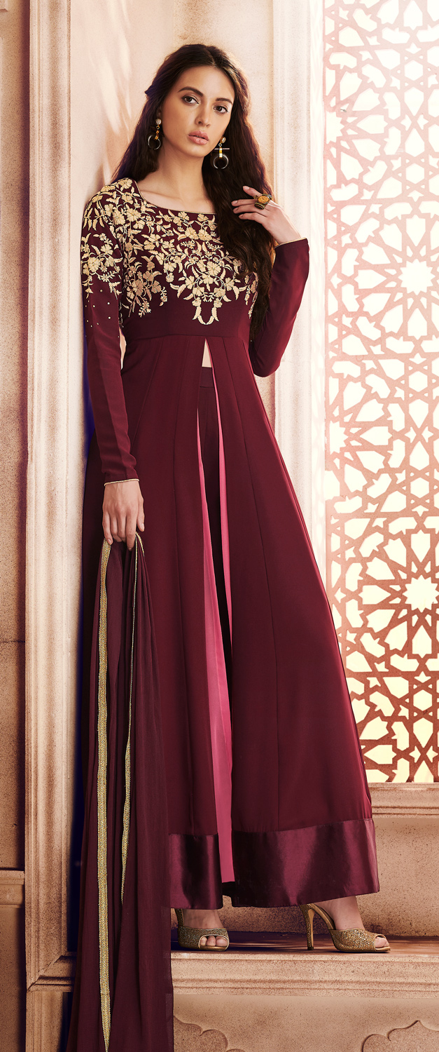 Prominent Wine Colored Designer Embroidered Georgette Suit