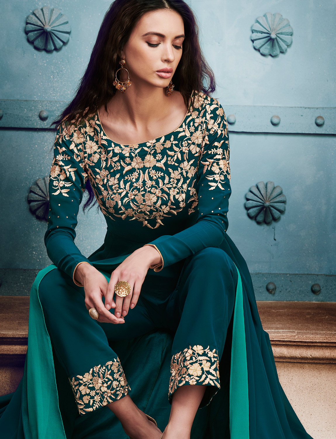 Awesome Rama Green Colored Designer Embroidered Georgette Suit