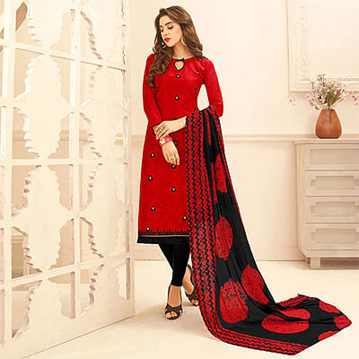 Red Colored Embroidered Casual Wear Jacquard Suit