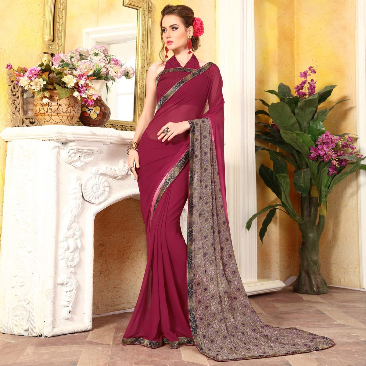 Beautiful Maroon Georgette Digital Printed Designer Saree