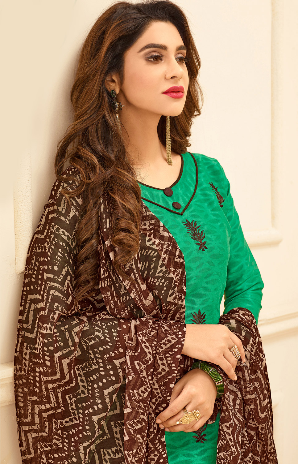Green Colored Embroidered Casual Wear Jacquard Suit