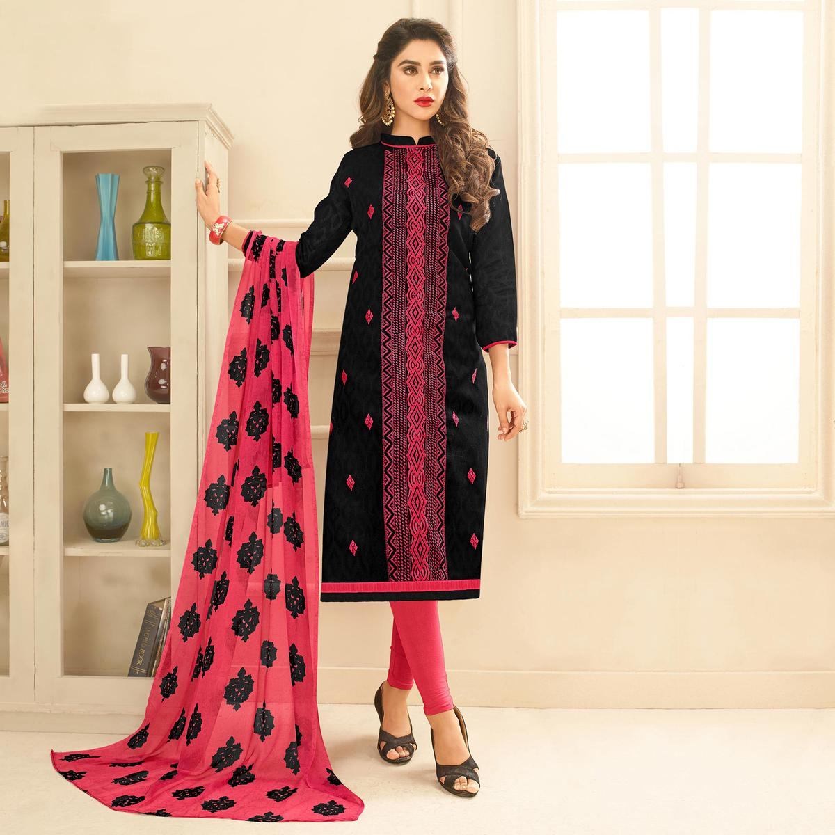 Black Colored Embroidered Casual Wear Jacquard Suit