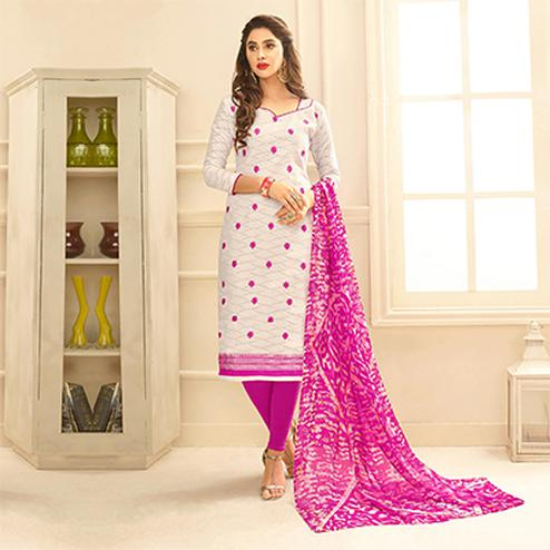 White Colored Embroidered Casual Wear Jacquard Suit