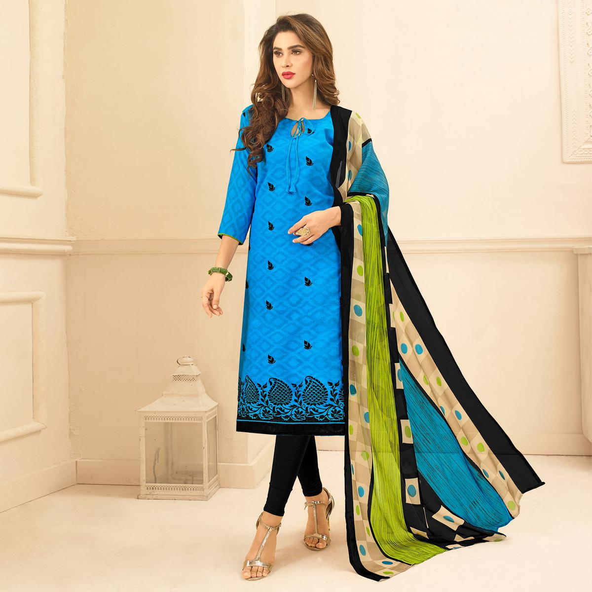 Blue Colored Embroidered Casual Wear Jacquard Suit