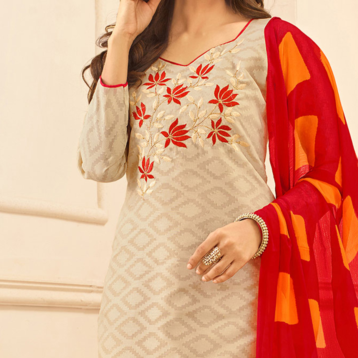 Beige Colored Embroidered Casual Wear Jacquard Suit