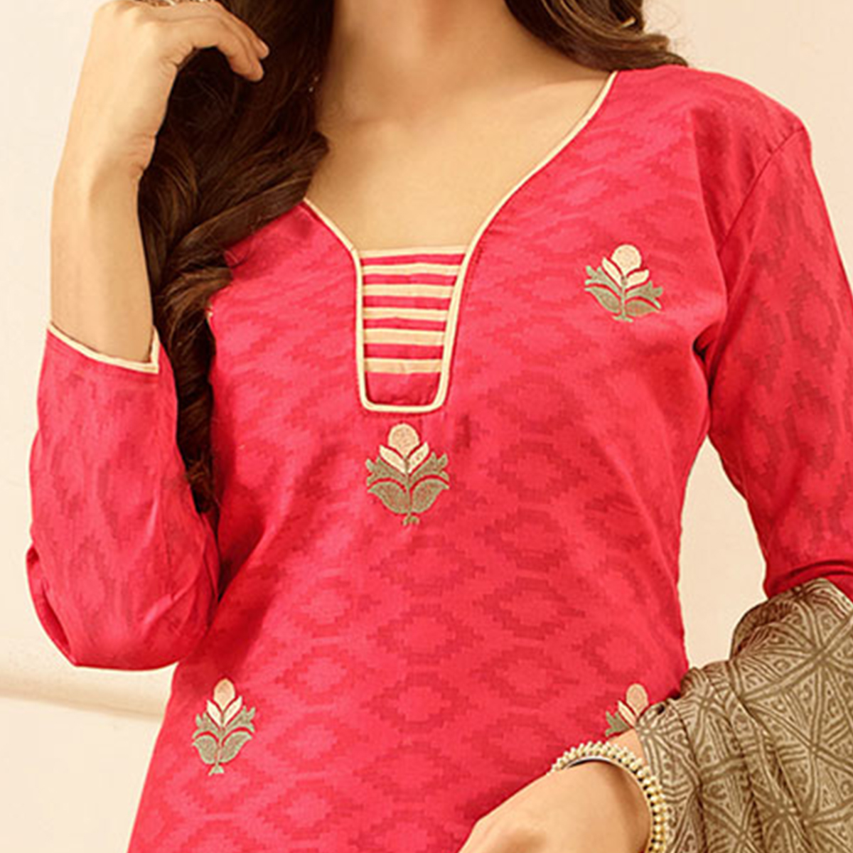 Pink Colored Embroidered Casual Wear Jacquard Suit