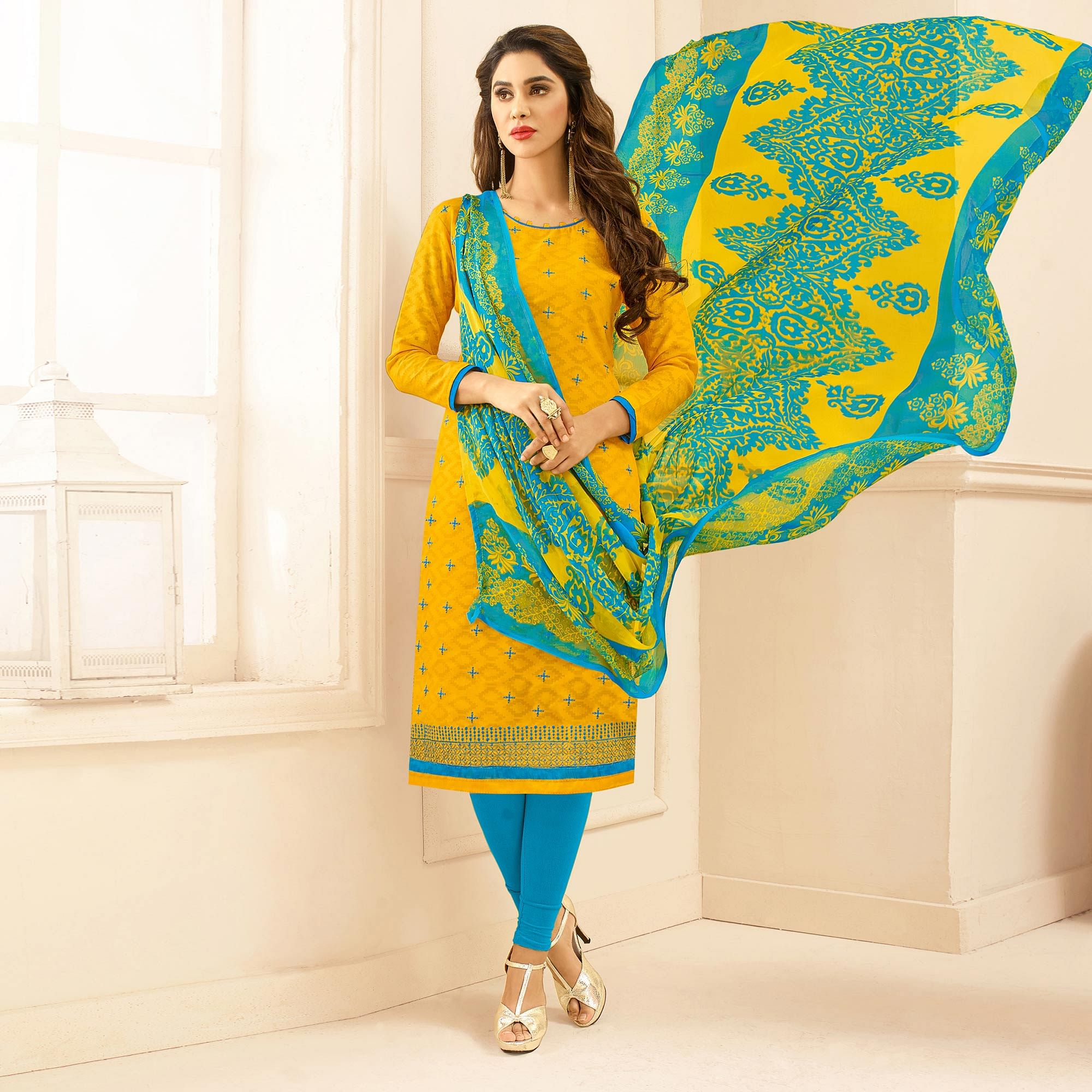 Yellow Colored Embroidered Casual Wear Jacquard Suit
