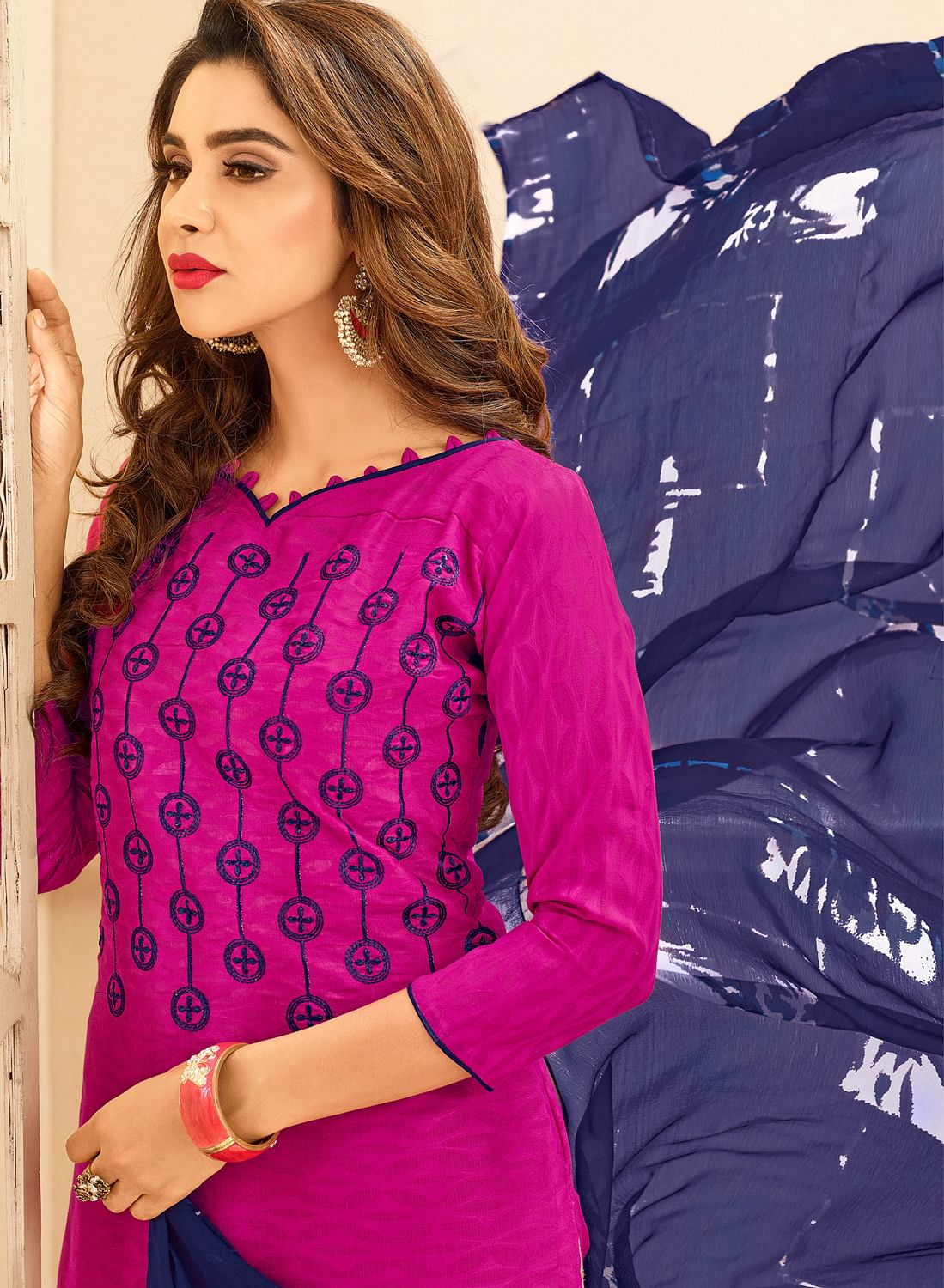 Magenta Pink Colored Embroidered Casual Wear Jacquard Suit