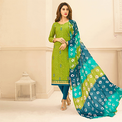Light Green Colored Embroidered Casual Wear Jacquard Suit