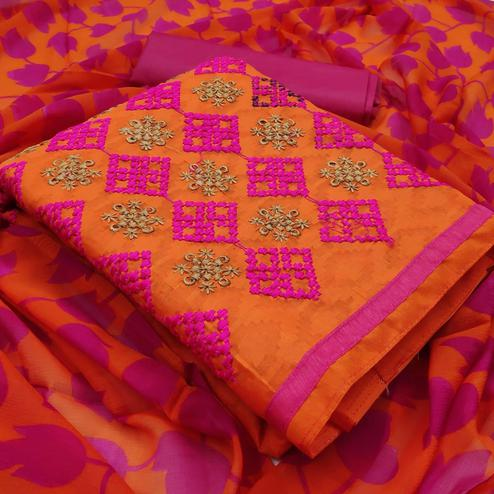 Orange Colored Embroidered Casual Wear Jacquard Suit