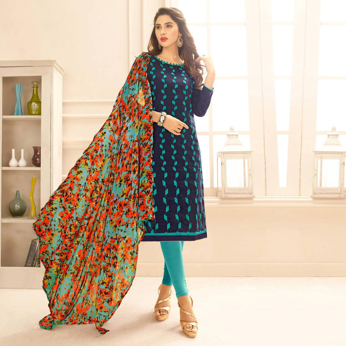 Navy Blue Colored Embroidered Casual Wear Jacquard Suit